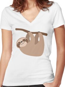 Cute Sloth on a Branch Women's Fitted V-Neck T-Shirt