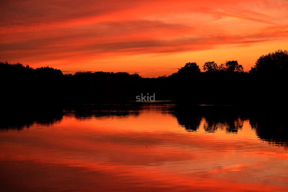 Langold Lake Sunset October 2012 Landscape  by skid