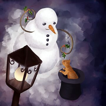 Snowman and cat by petravb