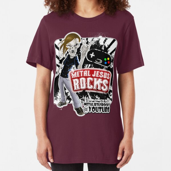 Undead Rocker - Metal Jesus Rocks (YOUTUBE) Slim Fit T-Shirt
