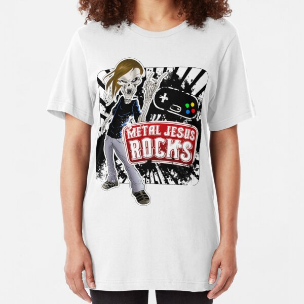 Undead Rocker - Metal Jesus Rocks Slim Fit T-Shirt