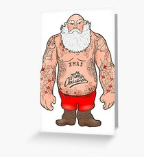 Brutal Santa Claus Bodybuilder, tattoos Greeting Card