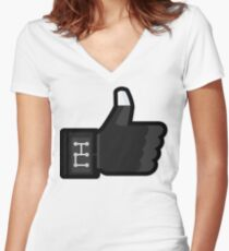 FACEBOOK X GHOSTBUSTERS (GB3) Women's Fitted V-Neck T-Shirt