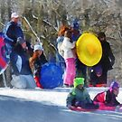 Winter - Sledding in the Park by Susan Savad