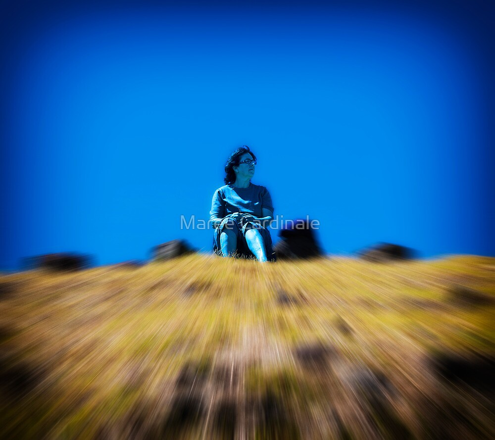 Lady on a hill content to go nowhere by Maree Cardinale