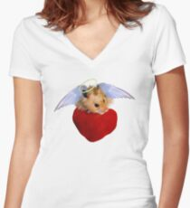 Angel Hamster with Heart Women's Fitted V-Neck T-Shirt