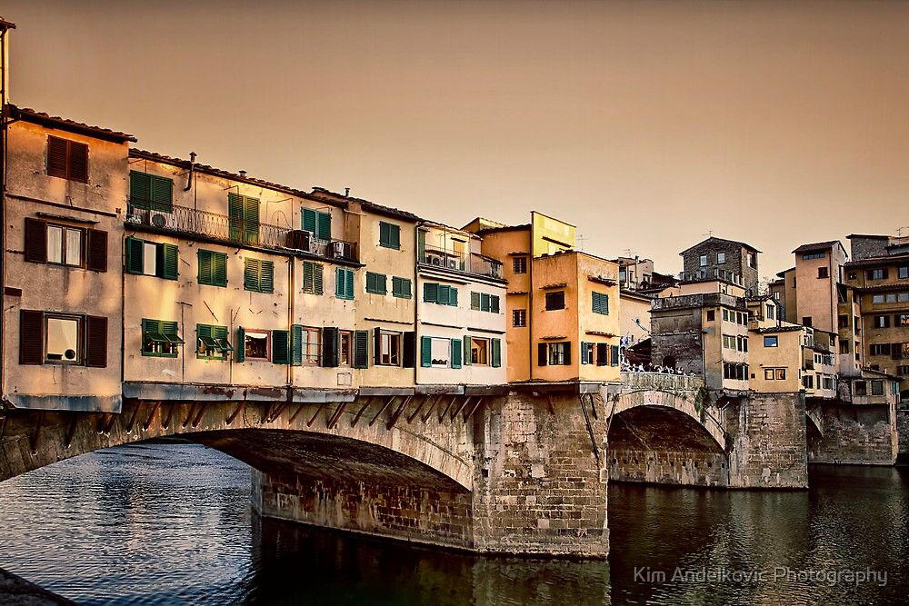 Ponte Vecchio - Florence Italy (in colour) by Kim Andelkovic