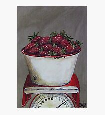 Strawberries on scale  Photographic Print