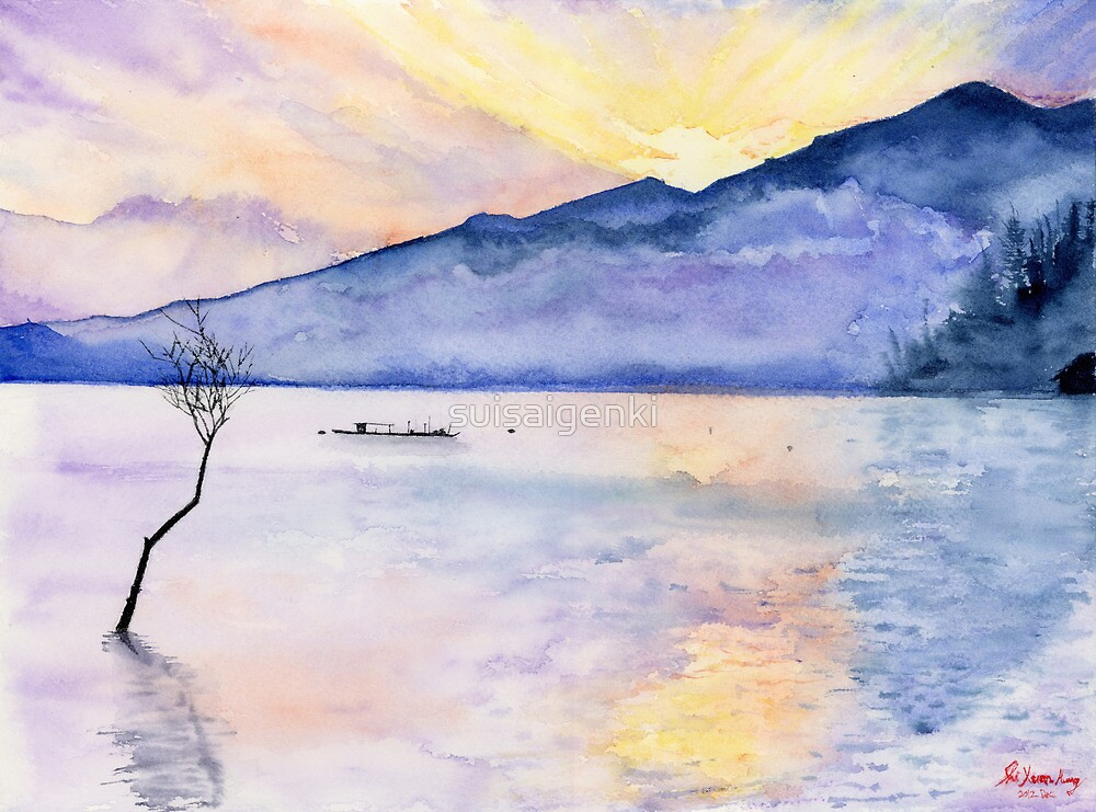 Morning Rays, Art Watercolor Painting print by Suisai Genki  by suisaigenki