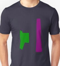 Green and Purple with Orange Background Unisex T-Shirt
