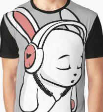 Love Music Cartoon Bunny with headphones Graphic T-Shirt