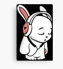 Love Music Cartoon Bunny with headphones Canvas Print