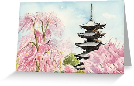 Japanese temple art watercolor painting print by suisai genki japanese temple art watercolor painting print by suisai genki by suisaigenki m4hsunfo Image collections