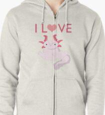 Love Axolotls T Zipped Hoodie