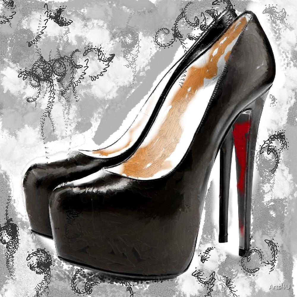 Black & White Red Bottom Abstract Digital Art by Arts4U