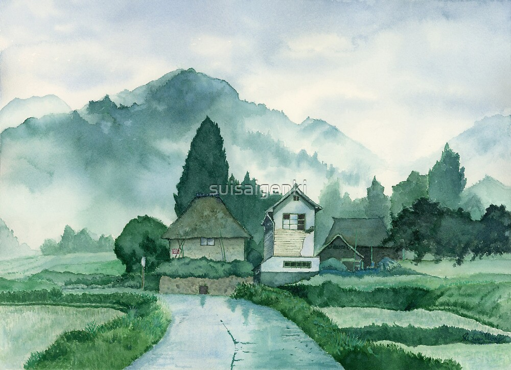 Japanese Village After Rain Art Watercolor Painting Print By Suisai Genki By Suisaigenki