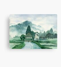 Japanese Village , After Rain , Art Watercolor Painting print by Suisai Genki Metal Print