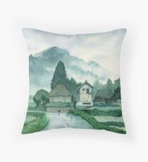 Japanese Village , After Rain , Art Watercolor Painting print by Suisai Genki Throw Pillow