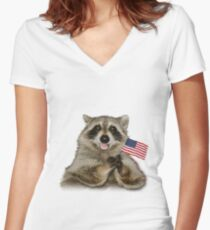 Patriotic Raccoon Women's Fitted V-Neck T-Shirt