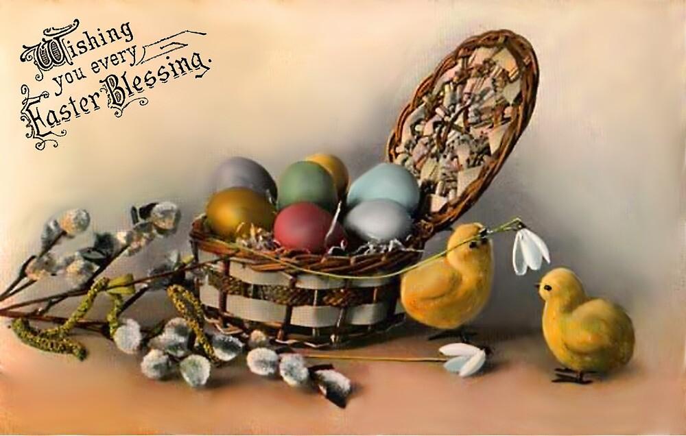 Easter Blessing - Vintage Easter card by © Kira Bodensted