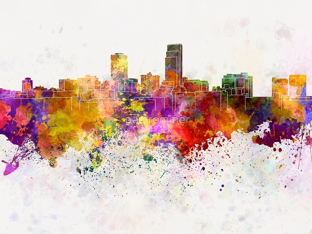 Omaha skyline in watercolor background by paulrommer