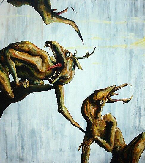 Horn Lake: My Baby Calf (Large Scale Acrylic) by Caroline  Gates