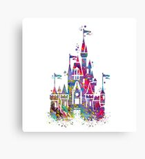 Princess Castle Watercolor Canvas Print