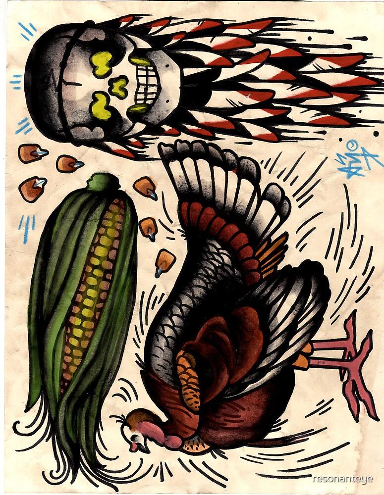 turkey and skull with corn, tattoo flash print, thanksgiving by resonanteye