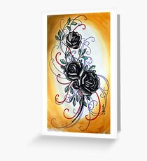 yellow and black rose, tattoo flash Greeting Card