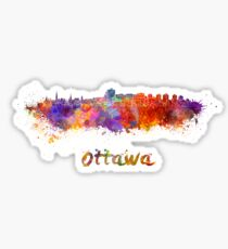 Ottawa skyline in watercolor Sticker