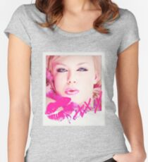 Poloroid Pink Kiss Tailliertes Rundhals-Shirt