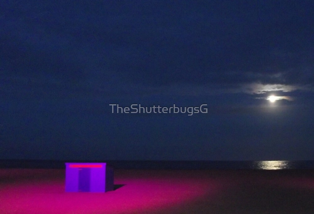 Pink Beach Scene at Night by TheShutterbugsG