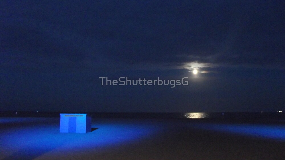Blue Beach Scene at Night by TheShutterbugsG