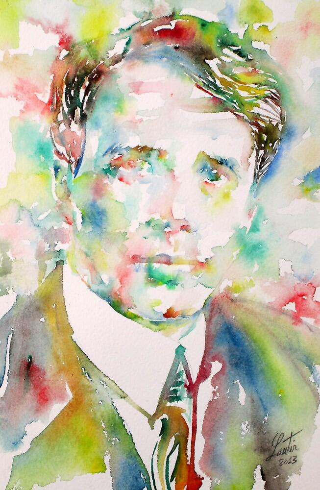 ROBERT FROST - watercolor portrait by lautir