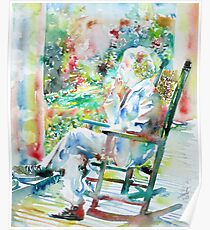 MARK TWAIN sitting and smoking a CIGAR - watercolor portrait Poster