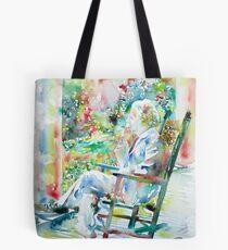 MARK TWAIN sitting and smoking a CIGAR - watercolor portrait Tote Bag