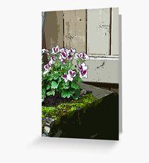 Geranium In Mossy Wood Planter - Digital Art  Greeting Card