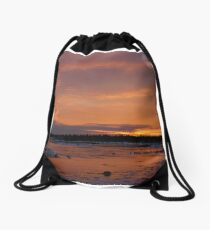 Fiery Light on an Icy Shore Drawstring Bag