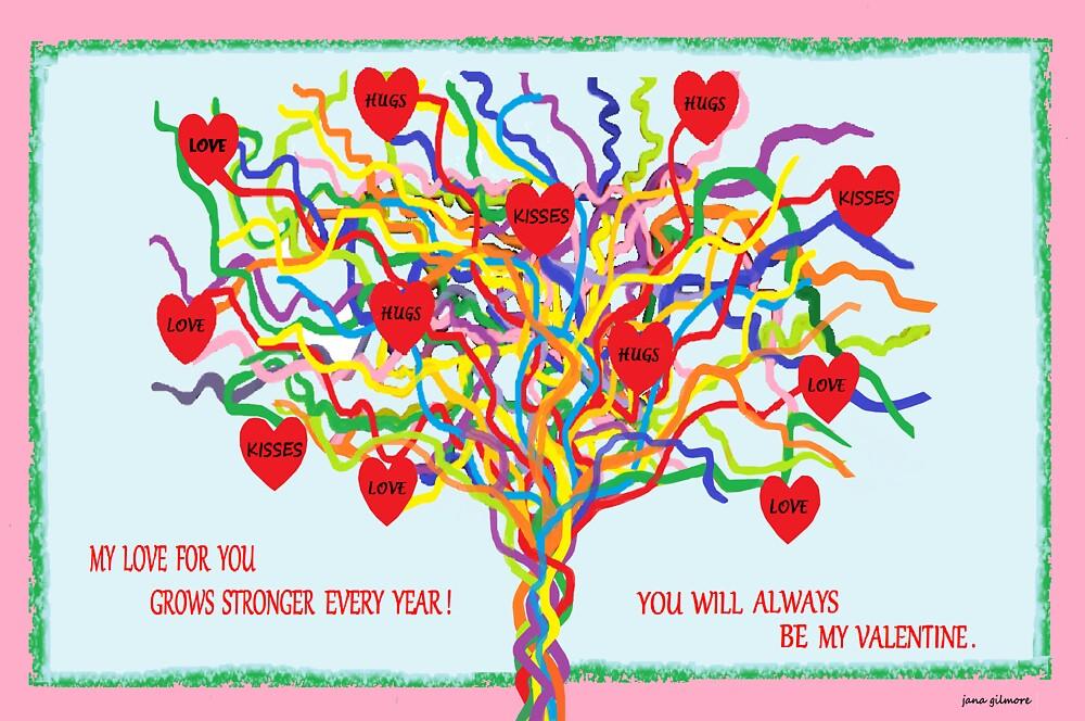 Rainbow Valentine Tree by Jana Gilmore