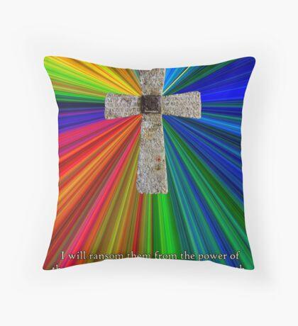 cross, colors & hosea verse Throw Pillow