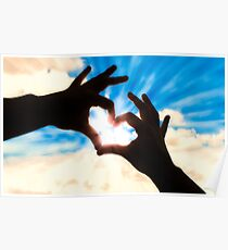 Silhouette hands in heart shape and blue sky Poster