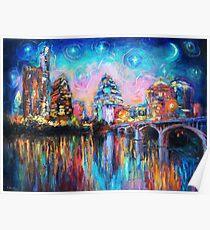 Impressionistic Austin Art Night Skyline cityscape #1 Svetlana Novikova  Poster