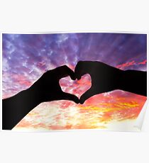 Silhouette hand in heart shape and beautiful sky Poster