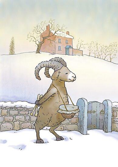 Drummer sheep (watercolor) by Alexander Savchenko