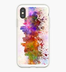 Pittsburgh skyline in watercolor background iPhone Case