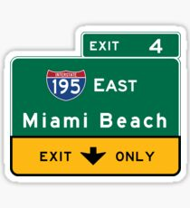 Miami Beach Road Sign, Florida Sticker