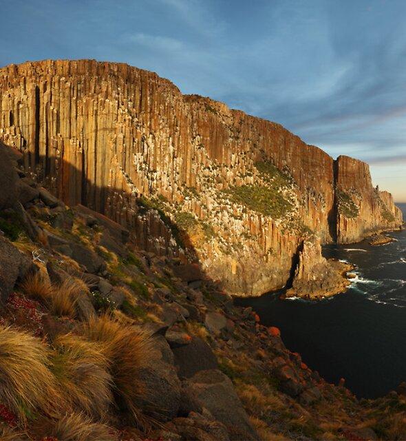 Evening light on the sea cliffs of Cape Raoul - Tasman Peninsula by Mark Shean