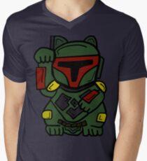 LUCKY BOBA CAT Men's V-Neck T-Shirt