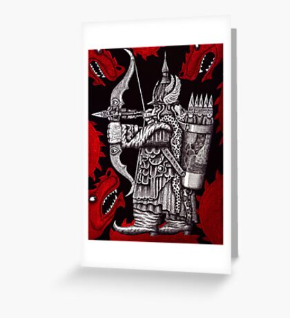 Dragon Fighter surreal pen ink drawing  Greeting Card