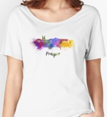 Prague skyline in watercolor Women's Relaxed Fit T-Shirt